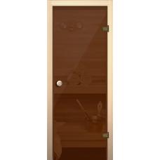 Дверное полотно 690х1890/Правая/Бронзовое 6мм/715 Оливка/кноб Е/Осина 1-й сорт