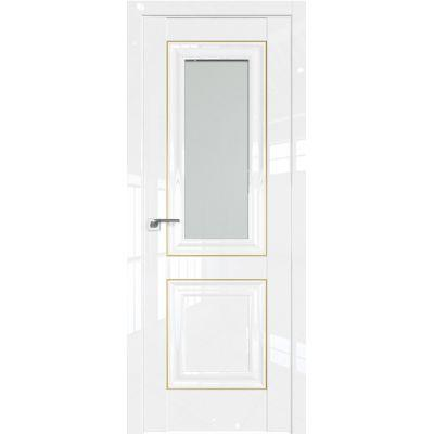 Дверь Белый люкс №28 L 2000*800 стекло кристалл матовое золото