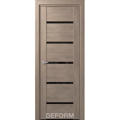 Дверное полотно DEFORM D11 ПО 35*800*2000 (Дуб Шале Седой Черный лакобель)