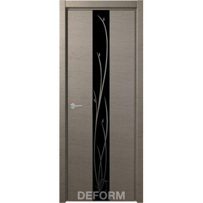 Дверное полотно DEFORM Н4 ПО 40*800*2000 (Дуб французский СЕРЫЙ Зеркало черное)