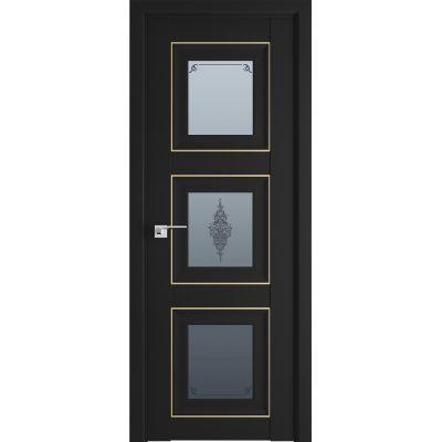 97U графит кристалл 800*2000 Черный матовый золото люкс